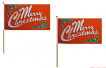 MERRY CHRISTMAS (RED) - HAND WAVING FLAG (MEDIUM)